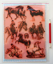 "Clear Stamps Sheet 7""x10"" ~ Horse Foal Equestrian Rider FLONZ Vintage 403-138"