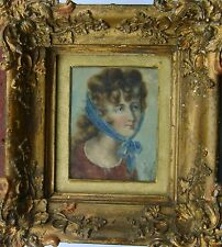 MINIATURE PORTRAIT OF A YOUNG LADY EARLY  REGENCY PERIOD W/COL ON PAPER C1800