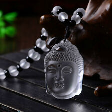 Chinese Fashion Natural White Crystal Necklace Pendant Lucky Buddha Amulet Hot