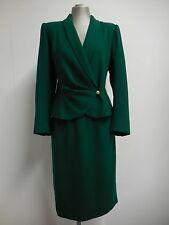 Vintage Emanuel Ungaro Skirt Suit Forest Green 1980's Gold Lion Buttons M 12 14