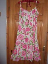 Per una Blanco Rosa Floral Vestido Vacaciones Sol De Verano 14 16