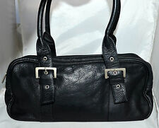 Lavive Columbia Black Pebbled Leather Shoulder Bag with Adjustable Buckle Straps
