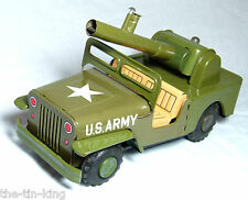TIN PLATE FRICTION DRIVE JEEP KANTO TOYS JAPAN C1950S ANTI AIRCRAFT GUN