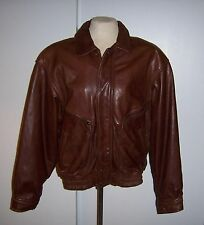 Adventure Bound Brown Leather Bomber Jacket - Size Med