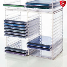 CD Storage Rack DVD Tower Crystal Clear Game Shelves Organizer Multimedia Holder