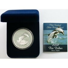 NEW ZEALAND HECTOR'S DOLPHIN: 2002  $5 SILVER PROOF!!!! RARE