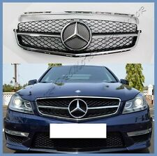 08-11 M-BENZ W204 Gloss Black Front Grille For C200 C300 C350 4Dr with C63 Look