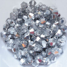 100 Austrian Crystal Glass Bicone Beads Jewellery Making Clear / Half Silver-4mm