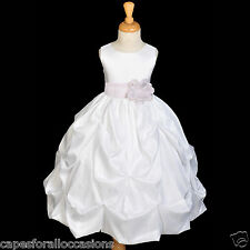 WHITE TAFFETA FLOWER GIRL DRESS WEDDING COMMUNION 6m-24m 2 3T 4 5T 6 6X 7 8 9 10