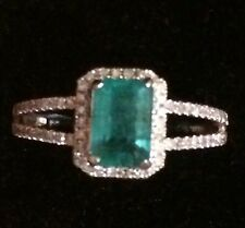 $1800 1.17CT NATURAL EMERALD AND NATURAL DIAMONDS  RING IN 10K WHITE  GOLD