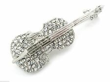 New Austrian Crystal Violin Brooch Women Pin Silver Plated