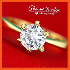 14K GOLD GF 1CT SOLITAIRE DIAMOND ENGAGEMENT WEDDING VALENTINE SOLID WOMENS RING