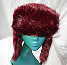 BEETROOT COLOUR RETRO DAVID CROCKETT HAT FABRIC FUR H&M ESKIMO EAR WARMERS 56MC