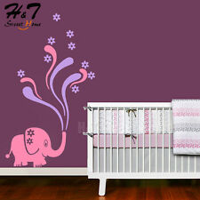 Cartoon Elephant Flower Removable Art Vinyl Wall Sticker Decal Nursery Kids Room