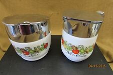 Vintage Gemco Corelle Corning Ware Spice of Life Sugar Bowl and Creamer---NICE!!