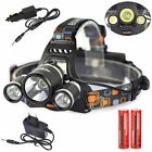 Rechargeable 9000 LM 3x XM-L T6+2R5 LED Headlamp Headlight Torch 18650 Camping