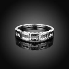 Womens 925 Silver Plated Wedding Engagement Geometrical Hollow Band Ring Jewelry