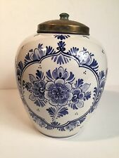 Delft Blue Urn Vase With Cover - 590 Marked