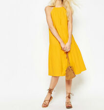 Branded Tiered Linen Midi Sundress in Yellow UK12/EU40/US8  zz2