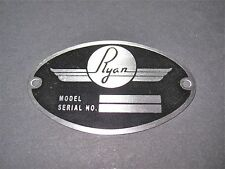 """Classic Ryan Aircraft DEA Required """"Aircraft Identification Data Plate"""""""