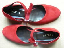 PANARA WOMEN'S RED SUEDE VELCRO SHOES, SIZE 37 (6.5)