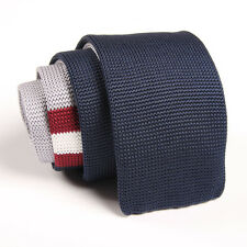 Fashion Men's Navy Blue Striped Tie Knit Knitted Necktie Slim Skinny Party Woven