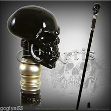 HANDMADE AUTHORS MADE HUMAN SKULL GOTHIC WALKING STICK CANE STAFF BLACK