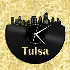 Tulsa Skyline Vinyl Wall Clock, Cityscape Clock, Unique Large Wall Clock