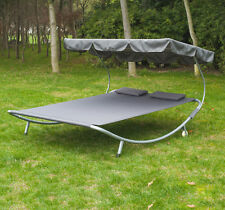 "79"" Double Sun Lounge Heavy Duty Hammock Bed Two Person Travel Pillow w/"