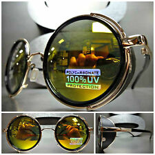 VINTAGE RETRO STEAMPUNK CYBER Round Blinder SUN GLASSES Black & Gold Frame Lens
