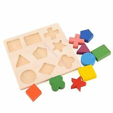 Wooden Math Geometry Block Puzzle Preschool Toy Kids Baby Learning Early Educati