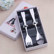 Kitchen Heart Shaped Stainless Steel Fork & Spoon Sets Flatware Cutlery Gift Box