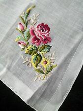 Vintage Pink Red Rose Embroidery Handkerchief Flower Hankie Emb Hanky 671