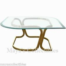 Mid Century Sculptural Coffee Table Glass Brass Marquise Shaped Milo Baughman