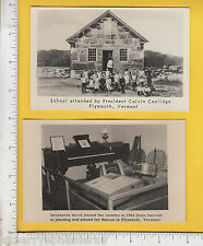 8456 Calvin Coolidge 2 postcards: Music Room & Schoolhouse, Plymouth, VT