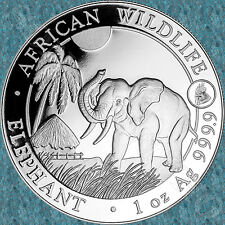 2017 SOMALIA African Wildlife ELEPHANT 1 Oz Silver Coin Lunar Year ROOSTER PRIVY