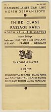 HAPAG NORTH GERMAN LLOYD North Atlantic Service * Third Class Tariff List 1937