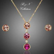 18K Gold Plated Round SWAROVSKI ELEMENTS Austrian Crystal Earring & Necklace Set