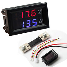 100V 100A DC Digital Voltmeter Ammeter Blue Red LED Amp Volt Meter Current Shunt
