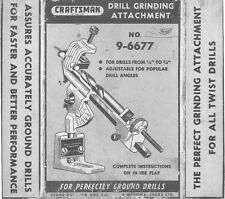 Craftsman 9-6677  Drill Grinding Attachment -  INSTRUCTIONS ONLY!