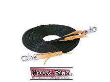 BLACK WEAVER 10 FT POLY ROPER REIN LEATHER WATER LOOP ENDS W/ SNAPS HORSE TACK