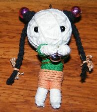"""Approximately 3"""" Tall Doll Made Out Of Yarn w/ Pigtail Hair 3 Bells w/ Hang Ring"""