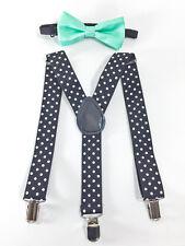 Kids BK Polka Dot Suspender & TEAL Bowtie- Children Toddler Baby Formal Wear