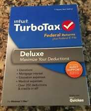 Intuit Turbotax Deluxe 2013 Federal Returns Plus E-File Turbo Tax PC/MAC NEW!