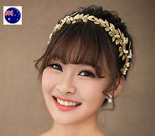 Women Girl Gold Leaf Wedding Bride Party Hair Headband Crown Tiara Prop Hoop