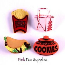8 SNACK FOOD DRESS IT UP BUTTONS JUNK FOOD NOVELTY KAWAII JEWELLERY CRAFT MAKING