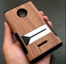 For Nokia Lumia 435 - HARD & SOFT RUBBER HYBRID ARMOR CASE BROWN WOOD KICKSTAND