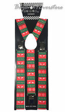 Men's Costumes Wear Accessories Candy Cane and Reindeers Adjustable Suspenders