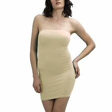 SEXY STRAPLESS LONG TUBE SEAMLESS TOP DRESS STRETCH MINI SLIM FIT CLUEWEAR SOLID
