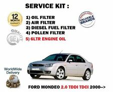 FOR FORD MONDEO 2.0TDDi 2000-  SERVICE OIL AIR FUEL POLLEN FILTER SET + 6LTR OIL